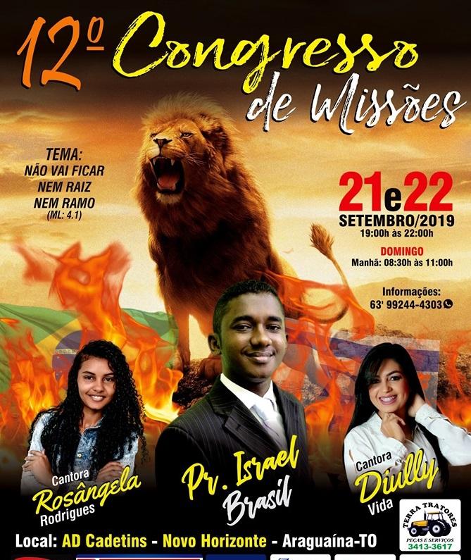 Convite - 12º Congresso de Missões da AD CADETINS será em Setembro
