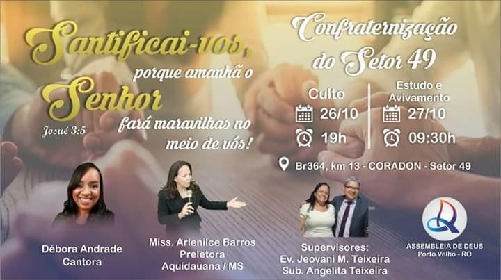 Eventos Gospel em Rondônia no final de semana de 25 a 28 de Outubro