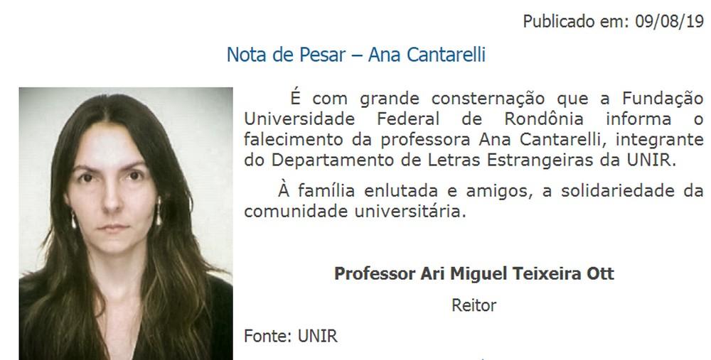 Nota de pesar publicada pela Universidade Federal de Rondônia - Foto: Unir/ Reprodução