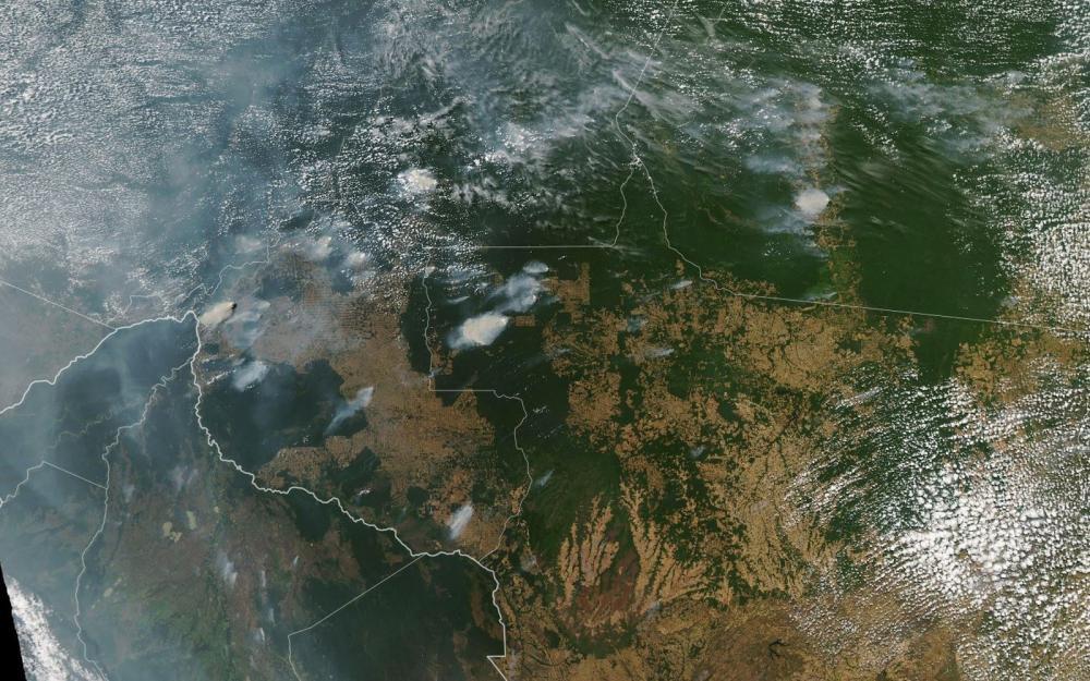 Fumaça de queimada avança sobre a Amazônia - Foto: Aqua/Nasa/Reprodução