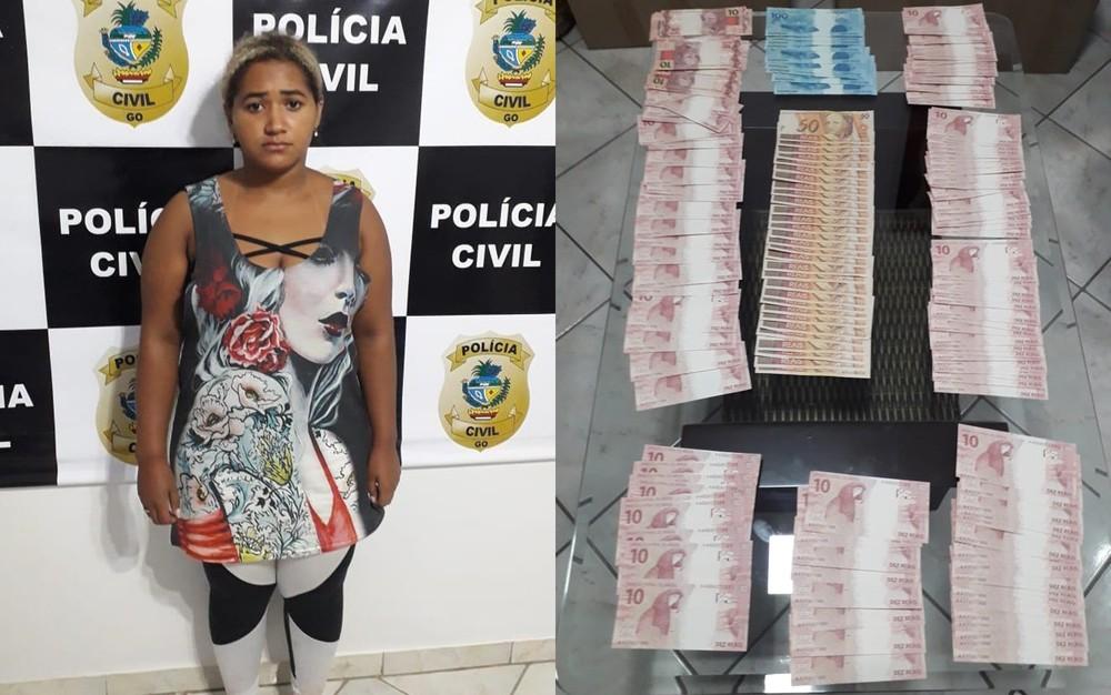 Pacote 'suspeito' nos Correios leva polícia a prender mulher por compra de dinheiro falso pela web, em Goiânia - Foto: Polícia Civil/Divulgação
