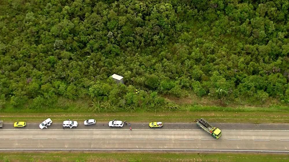 Criminosos abandonam caminhão na mata às margens da Rodovia dos Imigrantes em São Bernardo do Campo, no ABC - Foto: Reprodução/TV Globo