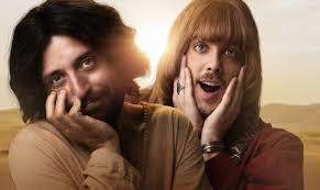 Gregório Duvivier (esquerda) e Fábio Porchat (direita) interpretam respectivamente Jesus e o diabo no novo filme do Porta dos Fundos. (Imagem: Netflix)