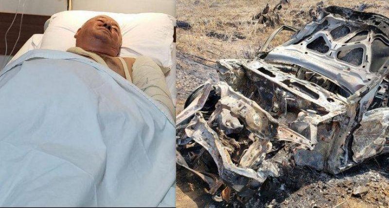 Carro q pegou fogo, após um acidente na Br 364 era ocupado pelo Vice-prefeito de Cacaulândia e sua esposa