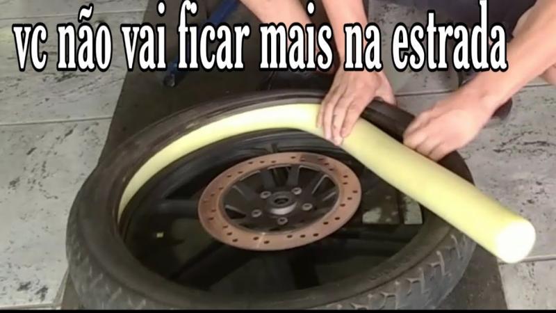 Ideia caseira para o pneu da sua moto não muchar quando furar!